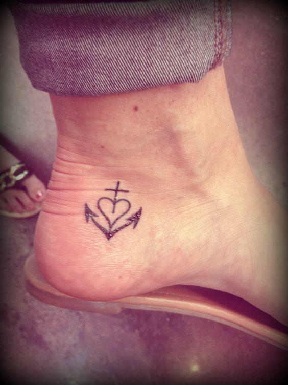 Cross Heart Anchor Tattoo