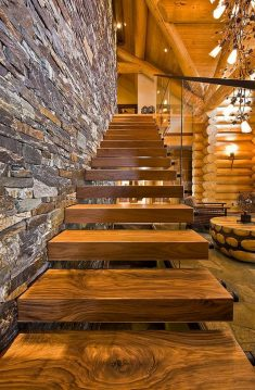 Wooden loft staircase, cozy and beautiful house