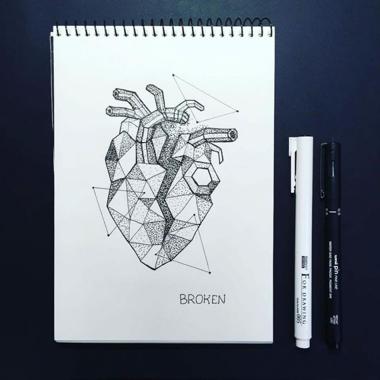 Dotwork Tattoo Sketches – Broken by by Anna Sereda