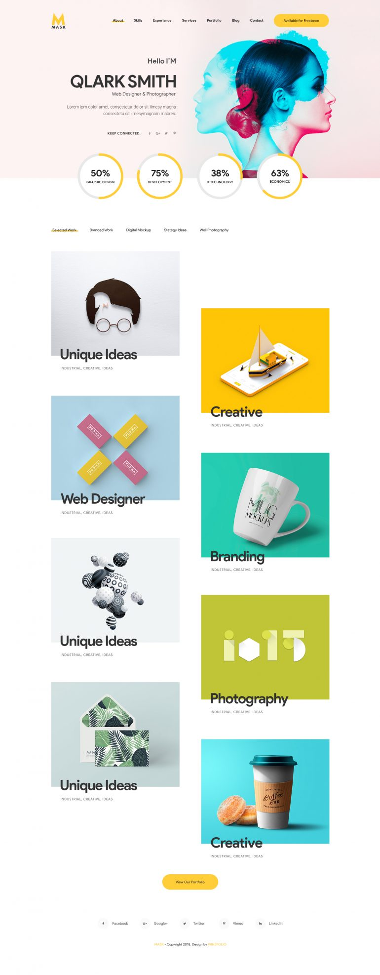 mask personal cv resume portfolio vcard by winsfolio