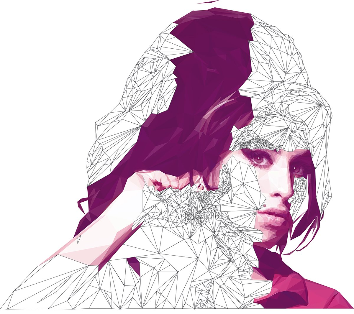 Amy Winehouse - Low Poly High Poly Portrait