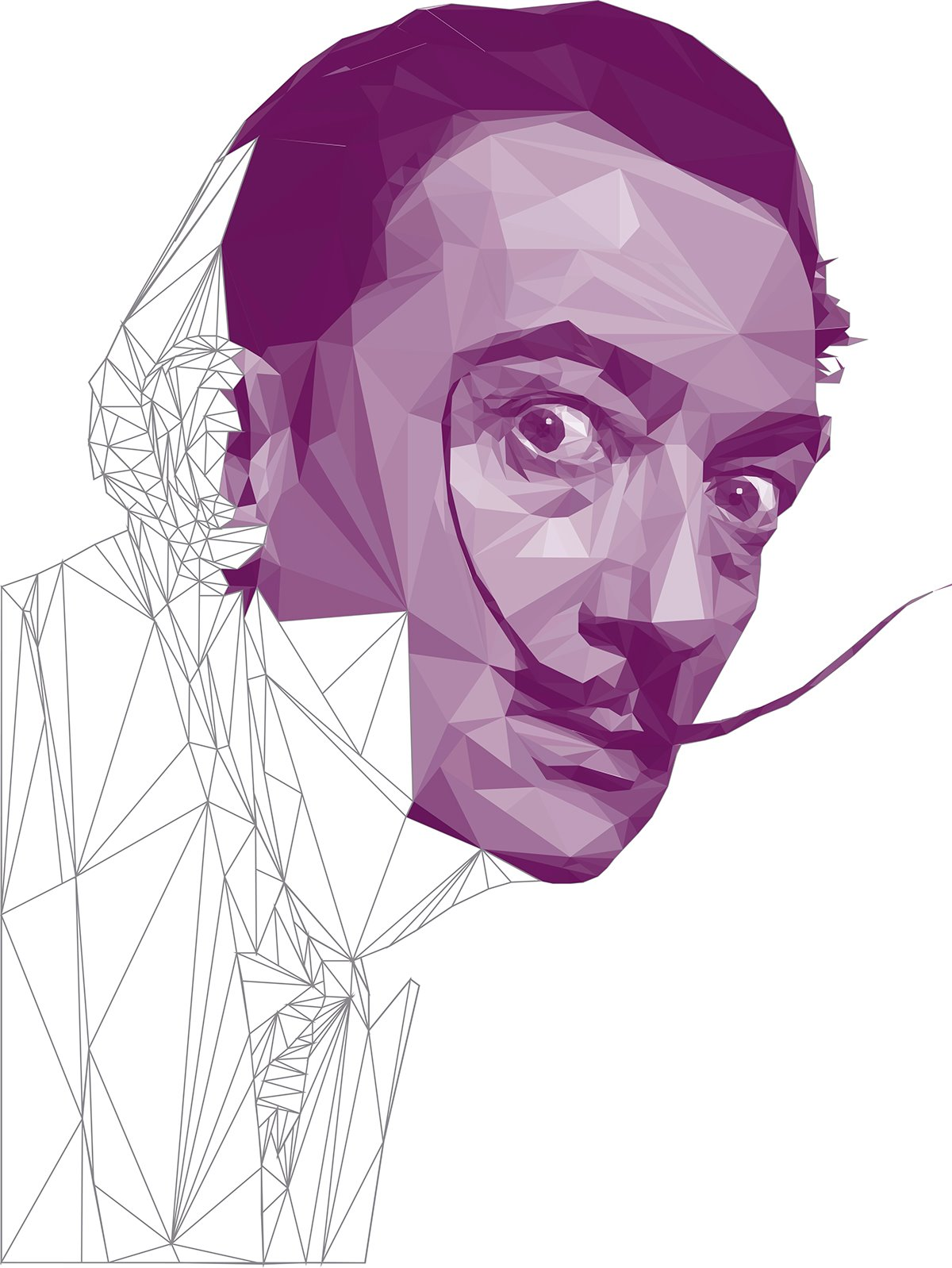 Salvador Dali - Low Poly High Poly Portrait