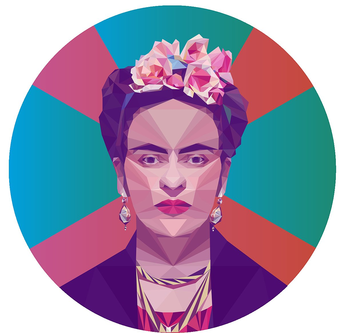 Frida Kahlo- Low Poly High Poly Portrait