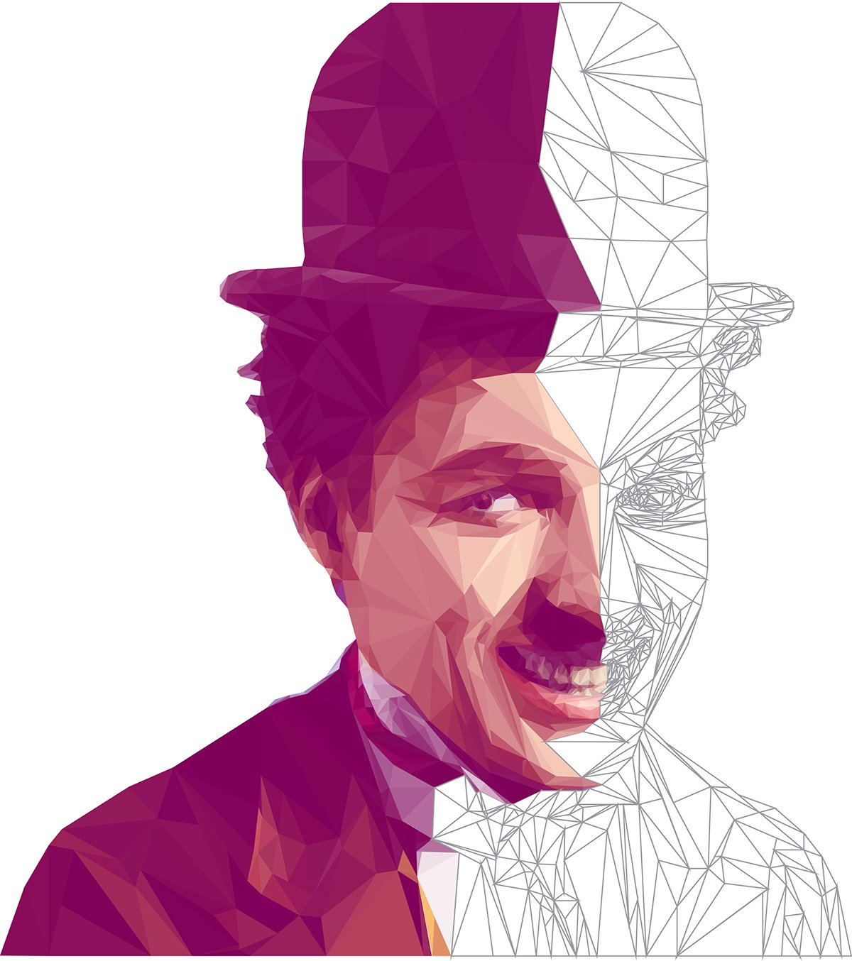 Charles Chaplin - Low Poly High Poly Portrait