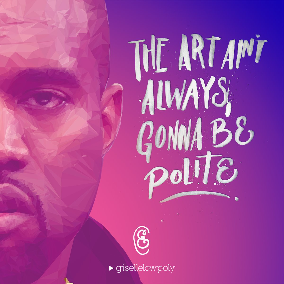 Kanye West - Low Poly High Poly Portrait