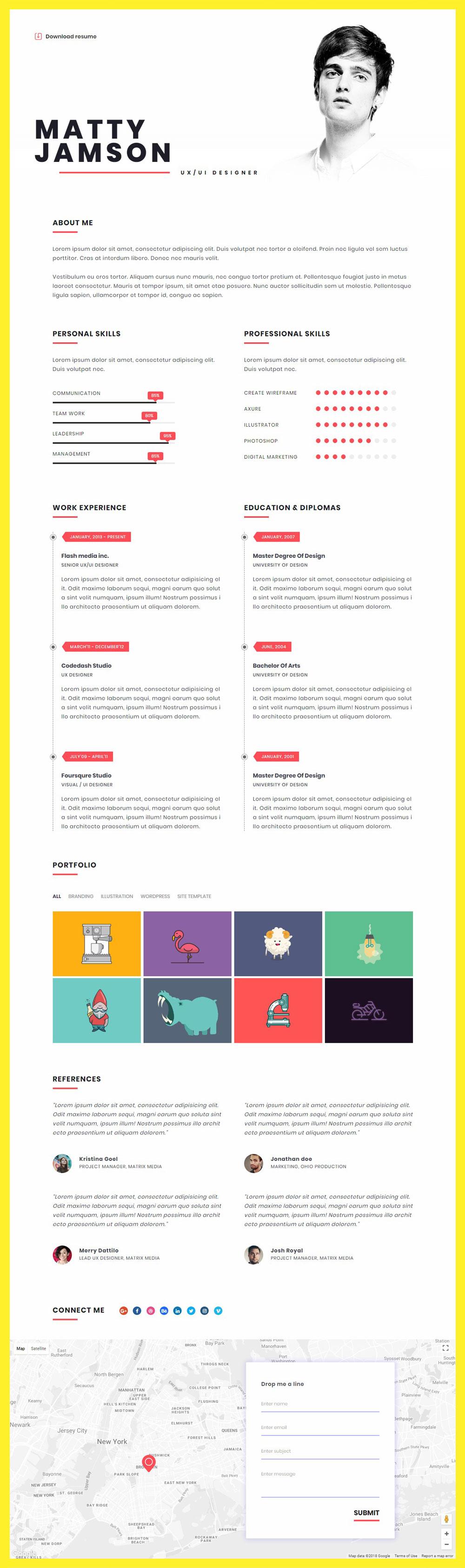 FLATR – Vcard, CV, Resume & Portfolio