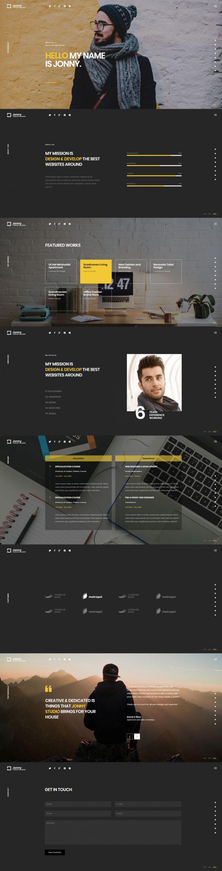 Jonny – One Page Portfolio