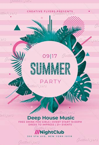 Summer Party Psd Invitation