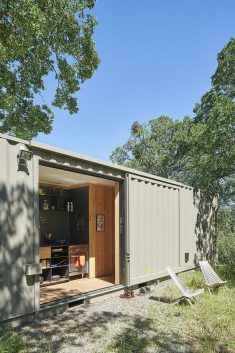 40′ Highboy Shipping Container Turned into a Cozy Hunting Cabin