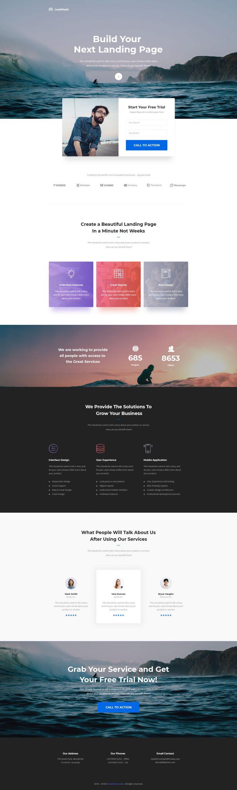 LeadMask – Services Unbounce Landing Page