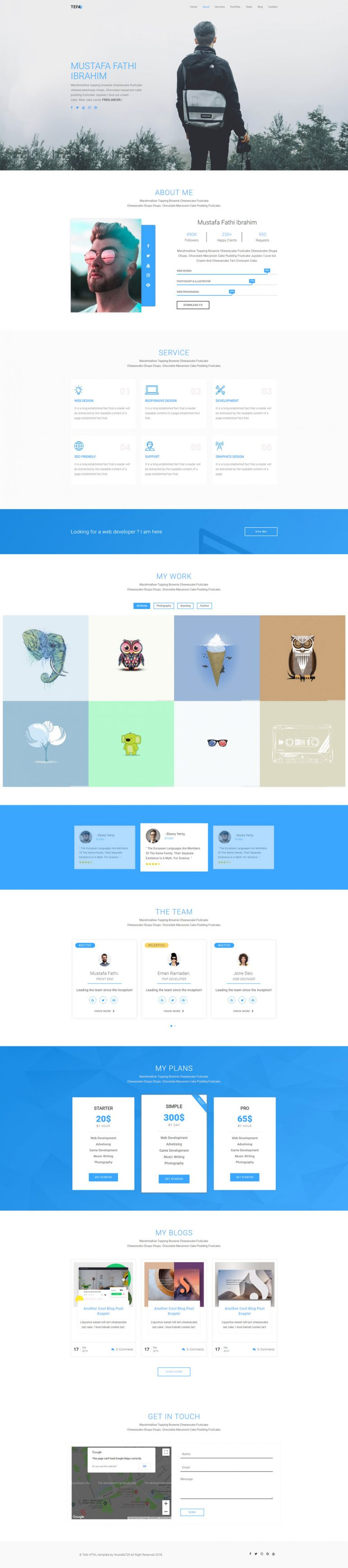 Tefa – One Page Portfolio