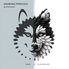 Drawing Process from logo to illustration