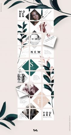 Instagram PUZZLE template -Botanical