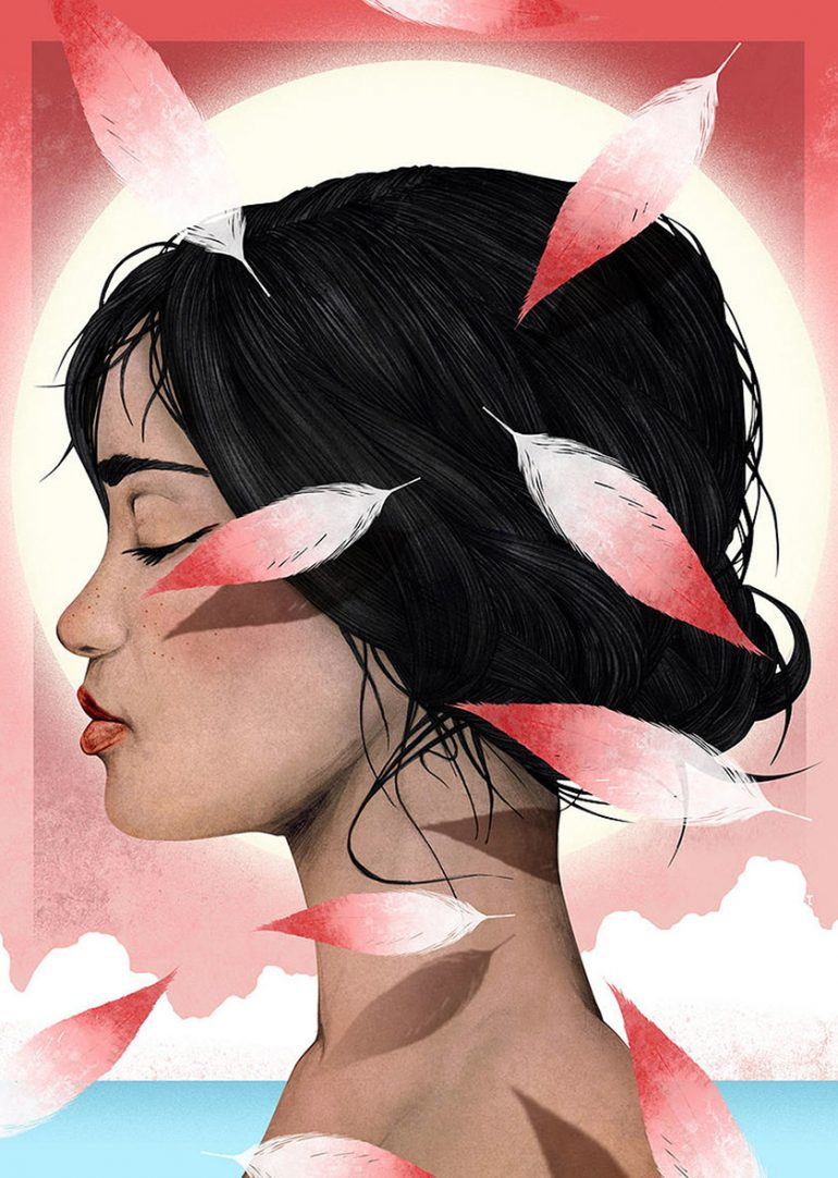Girl & Flamingo (Bye bye summertime)