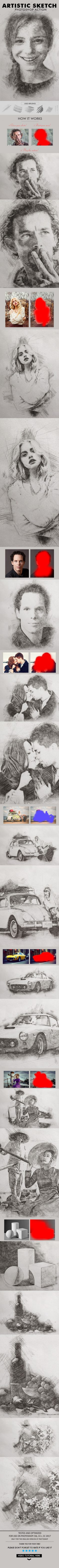 Artistic Sketch Photoshop Action by Ibragimov