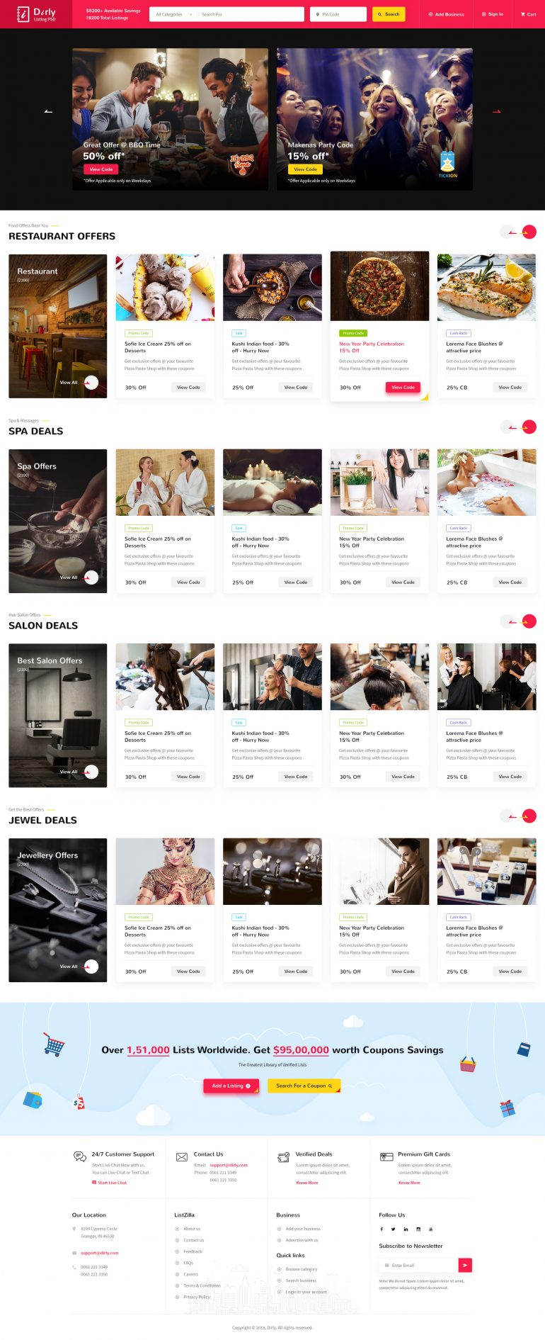 Dirly | Directory Listing PSD Template by BuddhaThemes