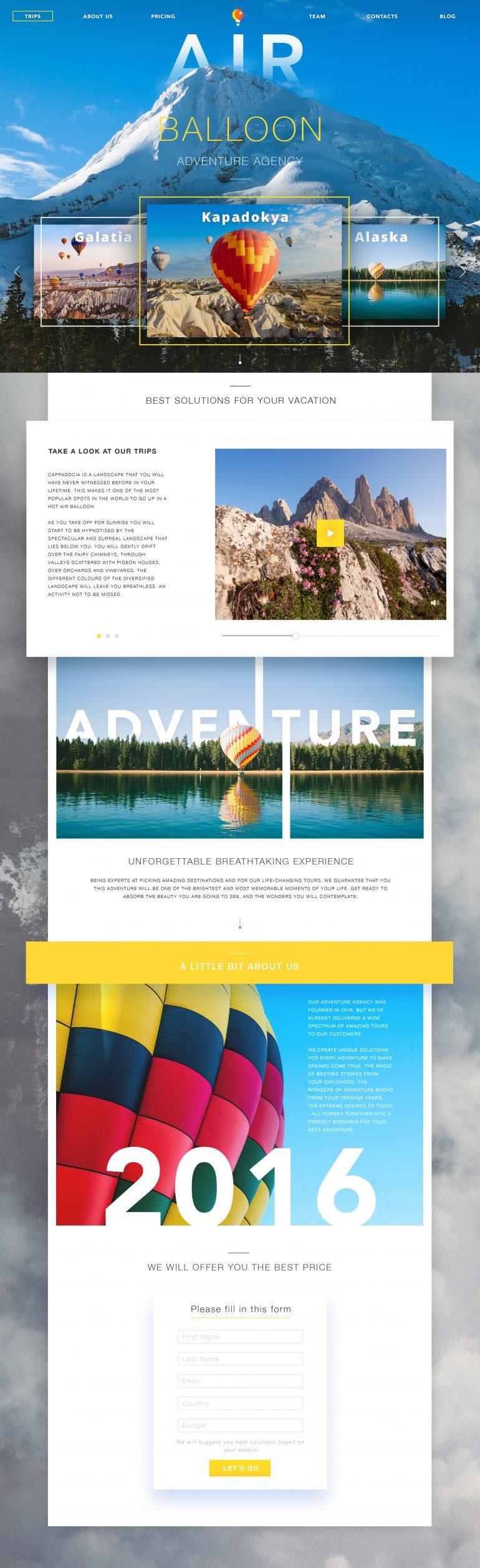 Adventure Agency Website by Valentyn Khenkin