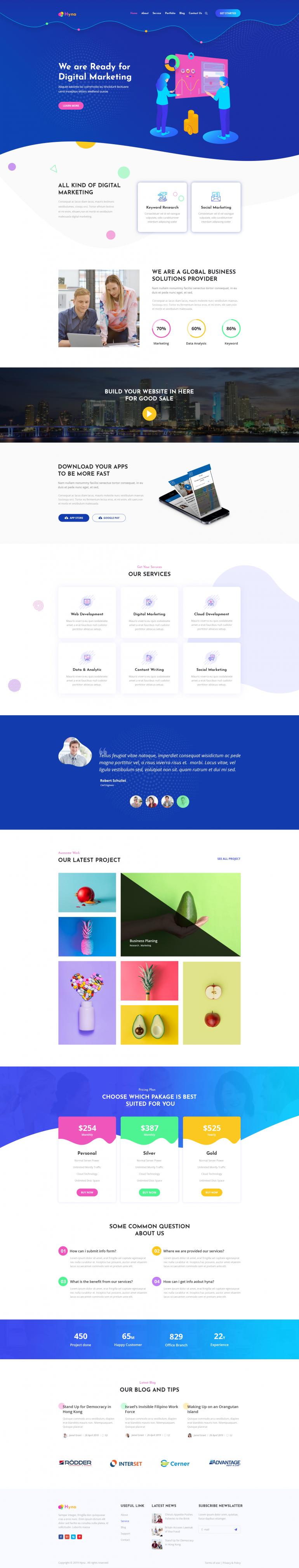 Hyna – Creative Multipurpose PSD Template by rivalinfotech