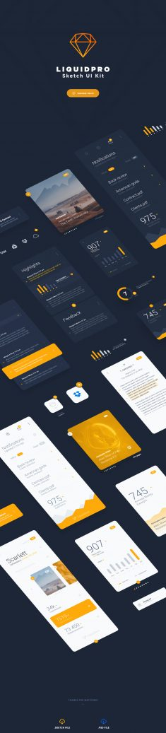 LiquidPro – Sketch UI Kit – Free Download