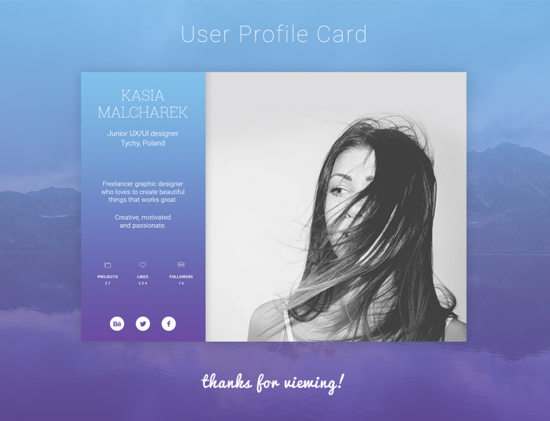 User Profile Card UI Design
