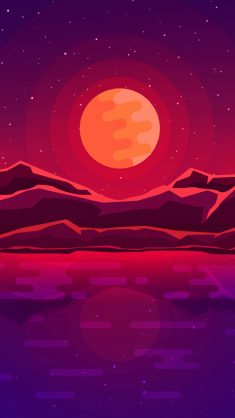 Moon rays, red space, sky, abstract, mountains wallpaper