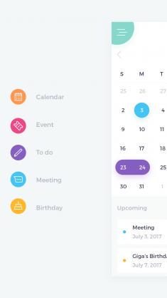 Calendar UI by Giga Tamarashvili