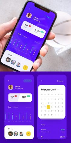 Fitness club statistics and calendar exercises app design