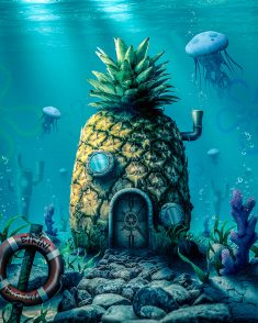Who lives in a pineapple under the sea? by SurrealDigitalArt