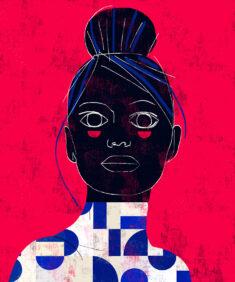 Geometric portrait by Luciano Cian inspired by modern Brazilian art.