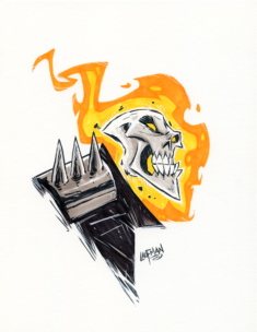 Inktober Day 28 – Ghost Rider by DerekLaufman