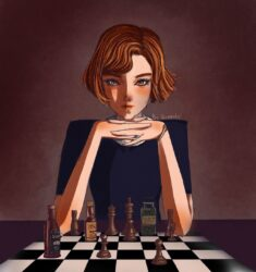 Beth Harmon, the Queens Gambit, fanart by kouanto